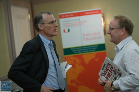 Olivier Bouclier, left, a Frenchman who serves as associate dean of executive education at the University of Miami School of Business.