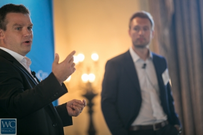 Christophe Peron, director for North America for distance learning provider Cross Knowledge, and Daniel Ronshodt, a senior vice president at Denmark's Area9 Learning Solutions.